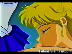 Hentai hermaphrodite cums on young Sailor Moon in public toilets