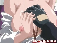 Hot redhead anime chick with huge juicy tits and pink nipples