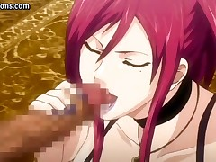 Busty hentai uses a dildo to masturbate and then gets drilled