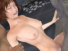 Sweet animated babe gets gangbanged